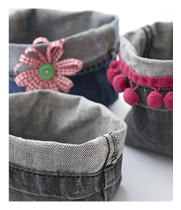 Baskets from jeans