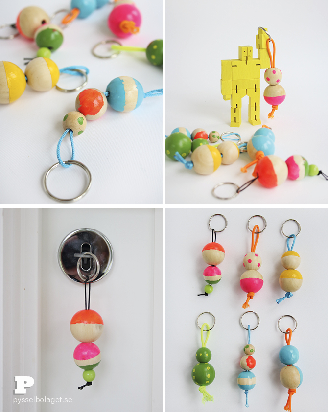 Wood bead keyrings PB 20146
