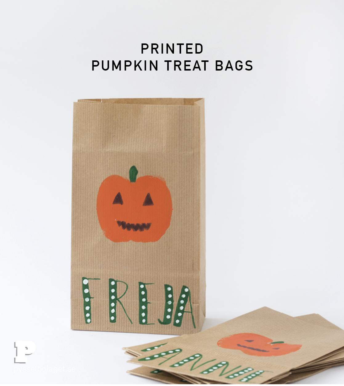 Äppeltryckta godispåsar till Halloween
