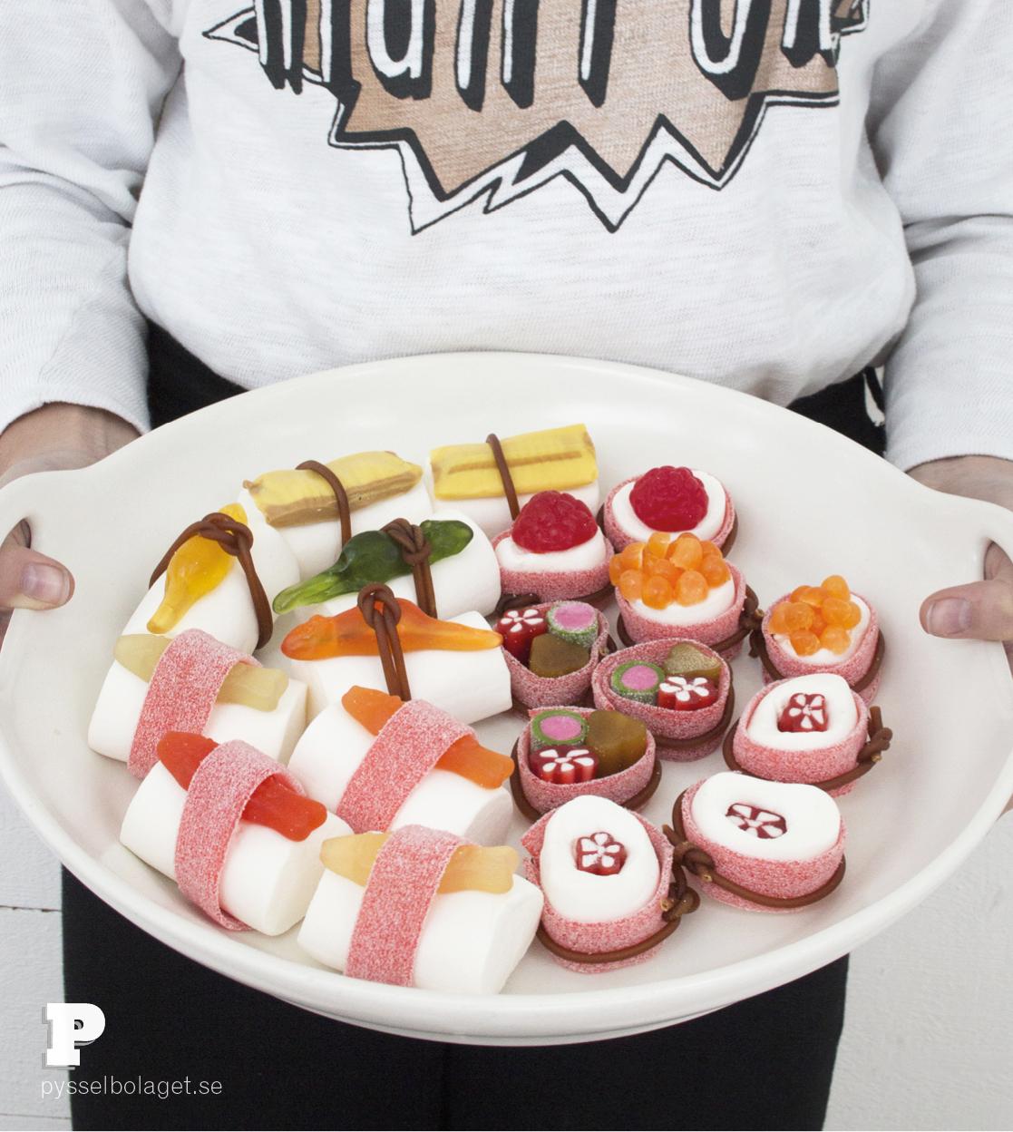 Godis sushi med Pysselbolaget