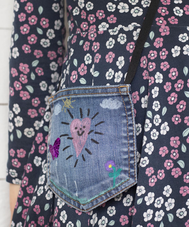 Pyssla små väskor av jeansfickor